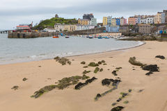 Tenby Wales low tide. Tenby Pembrokeshire Wales historic Welsh town on west side of Carmarthen Bay with great beaches and history Royalty Free Stock Images