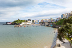 Tenby Wales with pastel coloured cottages. Tenby Pembrokeshire Wales historic Welsh town on west side of Carmarthen Bay with great beaches and history Stock Photo