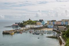 Tenby and castle in Wales, England Stock Photography