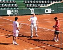 Tenconi vs. Martin. Thomas Tenconi and Alberto Martin before their tennis match Royalty Free Stock Image