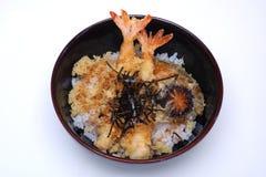 Tendão de Ebi, Tempura do camarão no arroz com cogumelo e alga, iso Imagens de Stock Royalty Free