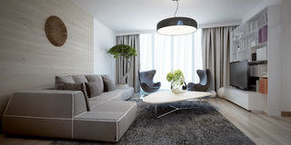 Tendência contemporânea da sala de estar brilhante Imagem de Stock Royalty Free