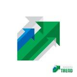 Tendência do negócio - vector a ilustração do conceito do molde do logotipo Fundo abstrato do sistema das setas Ícone de Infograp Imagens de Stock Royalty Free
