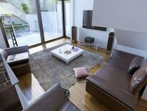 Tendência espaçoso da sala de estar Foto de Stock Royalty Free