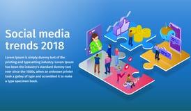 Tendências nos meios sociais 2018 Chatbot, transmissão video, histórias, promoção de SMM, analítica em linha Povos na rede social ilustração royalty free
