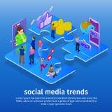 Tendências nos meios sociais 2018 Chatbot, transmissão video, histórias, promoção de SMM, analítica em linha Povos na rede social ilustração do vetor