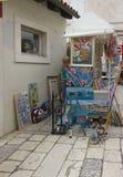 Tenda artística na cidade velha de Trogir na Croácia Foto de Stock