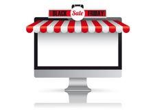 Tenda bianca rossa Black Friday del monitor del PC Fotografia Stock