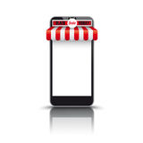 Tenda bianca rossa Black Friday di Smartphone Fotografia Stock