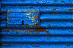 Tenda blu chiudibile a chiave Fotografie Stock