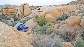 Tenda che si accampa in Joshua Tree National Park - panorama immagini stock