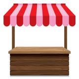 Tenda de madeira do mercado com o toldo vermelho e cor-de-rosa no fundo branco Fotografia de Stock Royalty Free