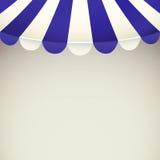 Tenda del negozio della striscia di bianco e del blu con spazio per testo Fotografie Stock