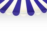 Tenda del negozio della striscia di bianco e del blu con spazio per testo Fotografia Stock