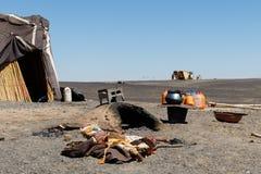 Tenda del nomade nel deserto marocchino fotografia stock libera da diritti