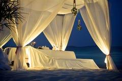 Tenda del ristorante sulla spiaggia Immagine Stock