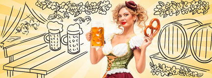Tenda della birra con i barilotti Fotografia Stock Libera da Diritti