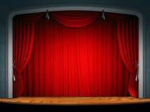 Tenda della fase del teatro Fotografia Stock