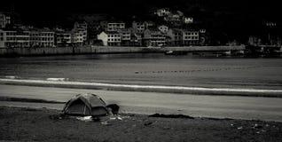 Tenda della spiaggia del mare Fotografia Stock Libera da Diritti
