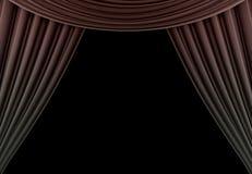 Tenda di bellezza di un teatro classico isolato su fondo nero 3d rendono fotografia stock libera da diritti