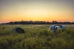 Tenda di campeggio sul campo rurale di estate con la foresta su fondo e cielo arancio di tramonto durante le vacanze in campeggio Immagine Stock Libera da Diritti