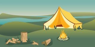 Tenda di campeggio sull'illustrazione piana di vettore della collina illustrazione di stock