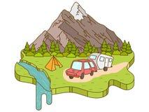 Tenda di campeggio vicino alle montagne nei precedenti illustrazione vettoriale