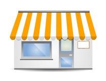Tenda di stanza frontale di negozio nel colore giallo illustrazione di stock