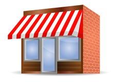 Tenda di stanza frontale di negozio nel colore rosso Immagini Stock Libere da Diritti