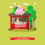 Tenda do gelado da ilustração do vetor, vendedora e comprador, estilo liso Foto de Stock