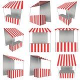 Tenda do quiosque do suporte do mercado com o toldo listrado para a venda da promoção ilustração stock