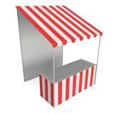 Tenda do quiosque do suporte do mercado com o toldo listrado para a venda da promoção ilustração do vetor