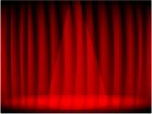 Tenda e fase rosse del teatro Fotografie Stock