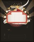 Tenda foranea del teatro con gli oggetti di tema di film Immagini Stock