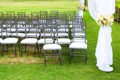 Tenda foranea di nozze con i mazzi Fotografia Stock