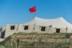 Tenda militare molto grande nel campo Fotografia Stock Libera da Diritti