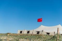 Tenda militare molto grande nel campo Fotografia Stock