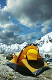 Tenda in montagna delle Cordigliera Fotografie Stock