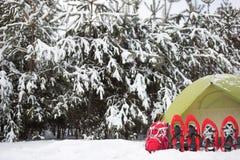 Tenda nella foresta di inverno Immagini Stock Libere da Diritti