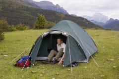 Tenda nelle montagne Fotografia Stock