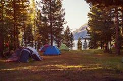 tenda nelle montagne in una foresta Immagini Stock