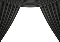 Tenda nera di un teatro classico isolato su fondo bianco 3d rendono immagine stock