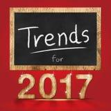 Tenda para o número de madeira de uma textura de 2017 anos com o quadro-negro no vermelho Fotografia de Stock Royalty Free