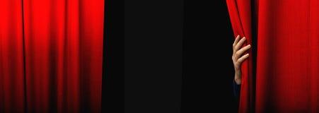 Tenda rossa d'apertura Fotografia Stock