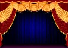 Tenda rossa del teatro Immagine Stock Libera da Diritti