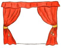 Tenda rossa del teatro Immagini Stock