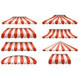 Tenda rossa e bianca a strisce del parasole - tende del negozio e del caffè illustrazione di stock