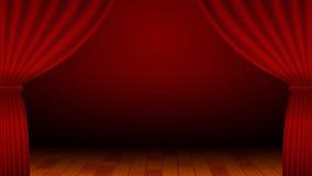 Tenda rossa, fase, spettacolo, teatro, fondo Immagine Stock