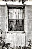Tenda stracciata in finestra Fotografie Stock Libere da Diritti