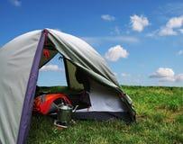 Tenda su erba Fotografie Stock